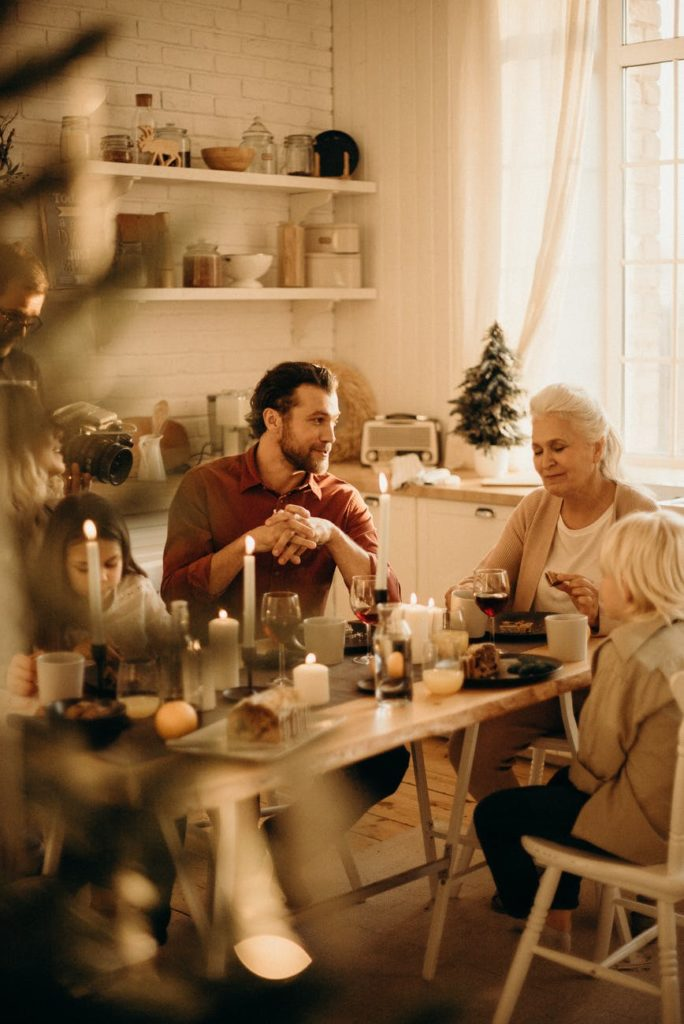 Family sitting together for holiday dinner
